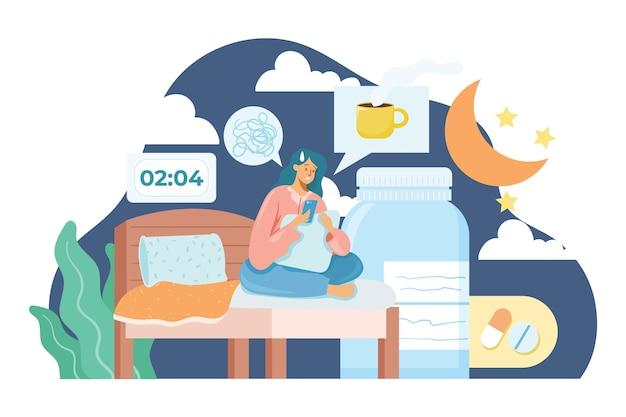 Illustration de concept d'insomnie