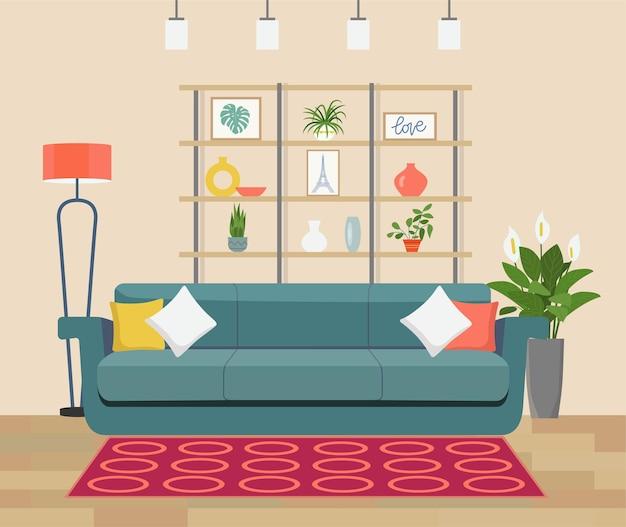 Illustration de concept d'intérieur de salon