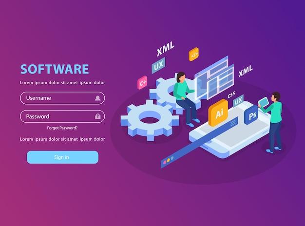 Illustration de concept isométrique de développement web