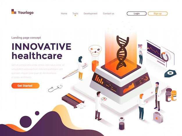 Illustration de concept isométrique moderne de couleur plate - soins de santé innovants