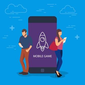 Illustration de concept de jeu mobile. les personnes utilisant des appareils pour le jeu.