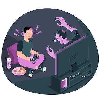 Illustration de concept de jeu vidéo d'horreur