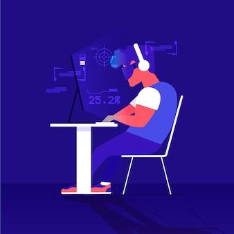 Illustration de concept de jeux en ligne avec homme jouant