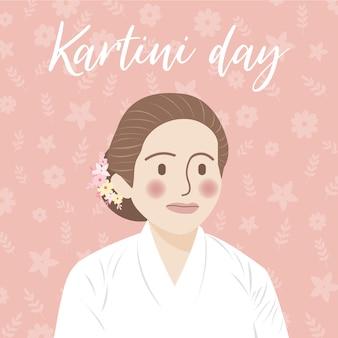 Illustration de concept de jour de kartini, célébrant la journée de kartini