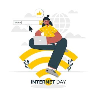 Illustration de concept de journée internet