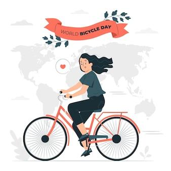Illustration de concept de journée mondiale de la bicyclette