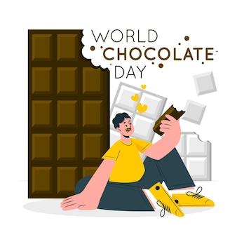 Illustration de concept de la journée mondiale du chocolat