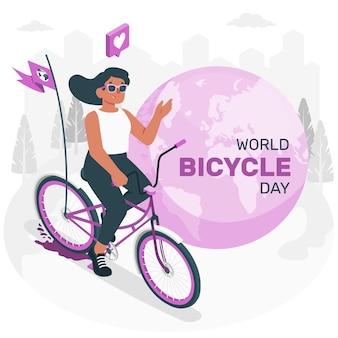 Illustration de concept de journée mondiale du vélo