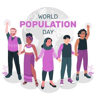 Illustration de concept de la journée mondiale de la population