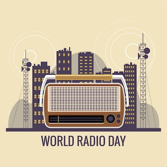 Illustration de concept de la journée mondiale de la radio. radio vintage avec toutes sortes de divertissements et de nouvelles à travers le monde