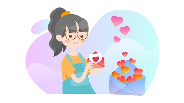 Illustration de concept kid tenant le modèle de lettre de la saint-valentin
