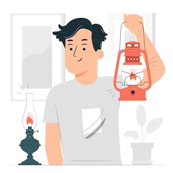 Illustration de concept de lampe à huile