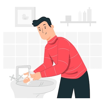 Illustration de concept de lavage des mains