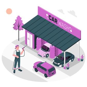 Illustration de concept de lavage de voiture