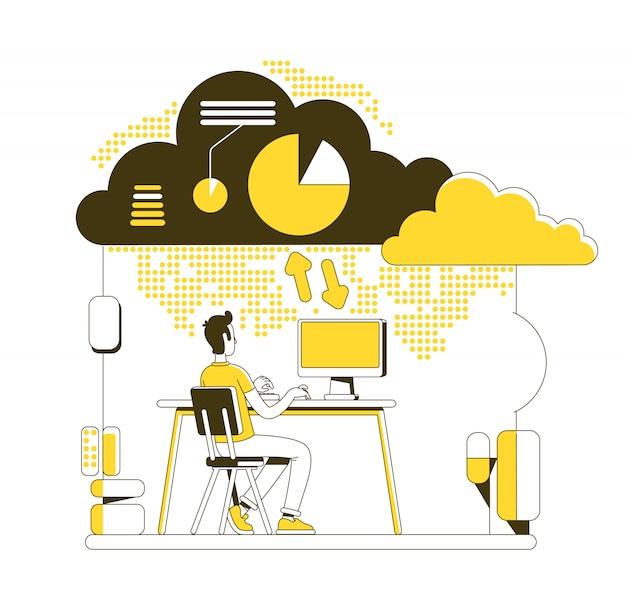 Illustration de concept de ligne mince de cloud computing