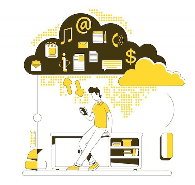 Illustration de concept de ligne mince de stockage en nuage