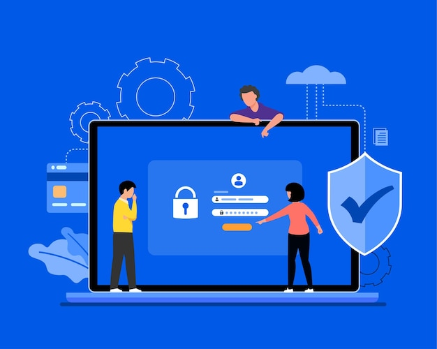 Illustration de concept en ligne de sécurité des données cyber, sécurité internet ou confidentialité des informations et protection.