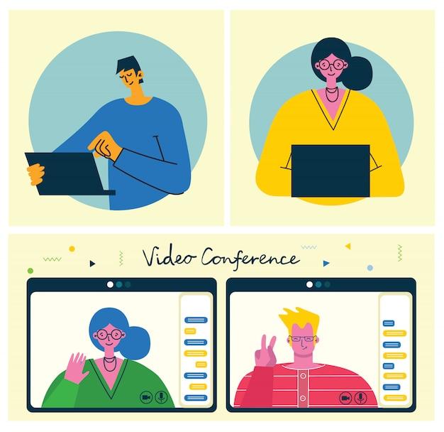 Illustration de concept en ligne webinaire. les gens utilisent le chat vidéo sur un ordinateur de bureau et un ordinateur portable pour organiser une conférence. travaillez à distance depuis chez vous. illustration vectorielle plat moderne.
