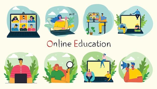 Illustration de concept en ligne webinaire.