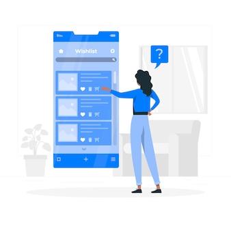 Illustration de concept de liste de souhaits en ligne