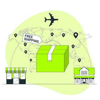 Illustration de concept de livraison gratuite