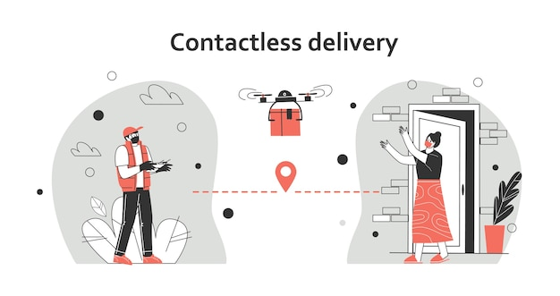 Illustration de concept de livraison sans contact. le courrier utilise un quadricoptère pour livrer le colis. à une distance de sécurité pour protéger le covid-19 ou le coronavirus. illustration vectorielle plane.