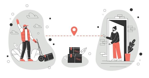 Illustration de concept de livraison sans contact