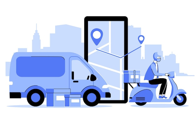 Illustration de concept de livraison sûre dans un style plat
