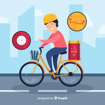 Illustration de concept de livraison vélo dessinés à la main