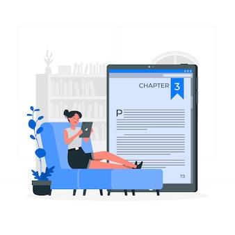 Illustration de concept de livre électronique