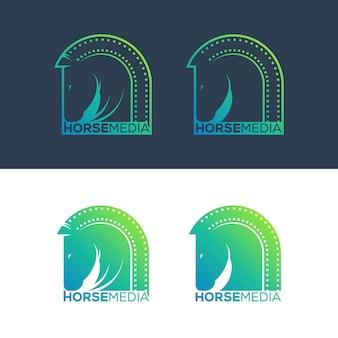 Illustration de concept logo cheval médias.