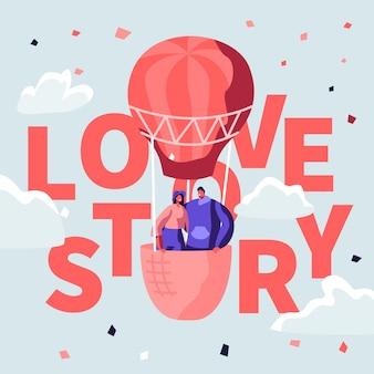 Illustration de concept love story avec un couple dans un ballon chaud ai.