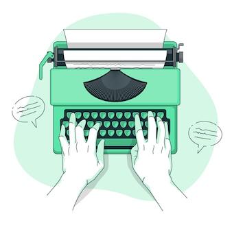 Illustration De Concept De Machine à écrire Vecteur gratuit