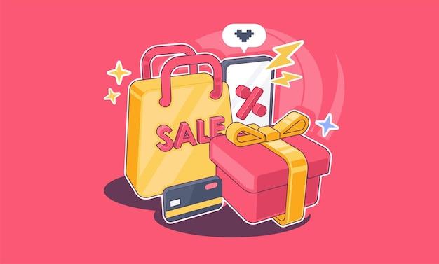 Illustration de concept de magasinage en ligne illustration des attributs de magasinage pour la publicité