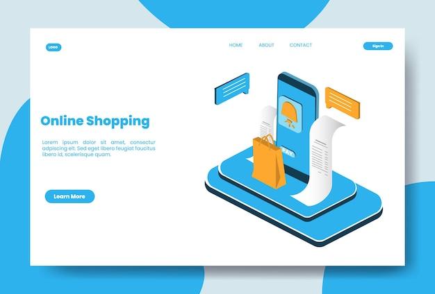 Illustration de concept de magasinage en ligne isométrique moderne