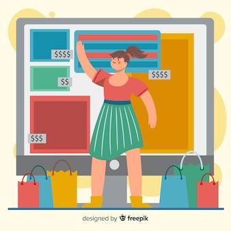 Illustration de concept de magasinage en ligne pour la page de destination