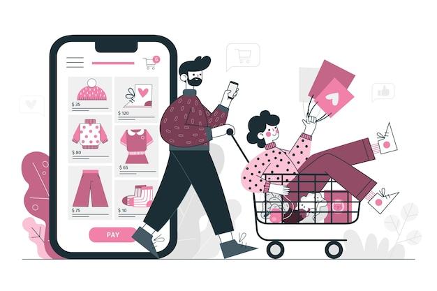 Illustration de concept de magasinage en ligne