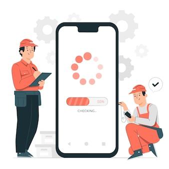 Illustration de concept de maintenance de téléphone