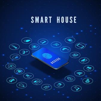 Illustration de concept de maison intelligente ou iot