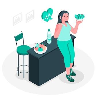 Illustration de concept de manger des aliments sains
