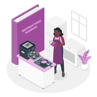 Illustration de concept de manuel d'instructions