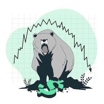 Illustration de concept de marché baissier