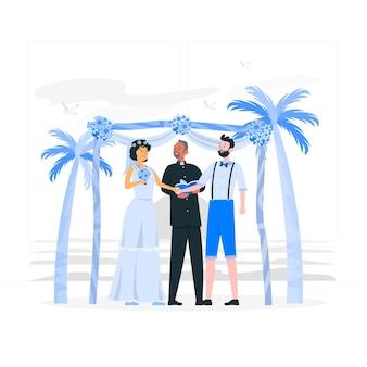 Illustration de concept de mariage de plage