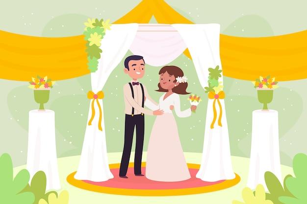 Illustration avec le concept de la mariée et le marié