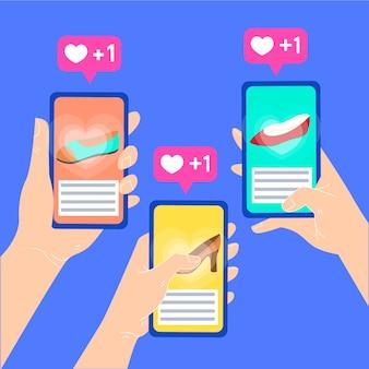 Illustration de concept de marketing des médias sociaux