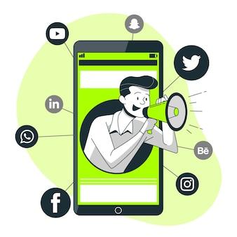 Illustration de concept de marketing mobile
