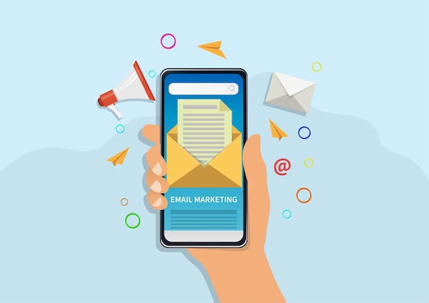 Illustration de concept de marketing par courrier électronique