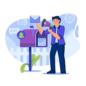 Illustration de concept de marketing par e-mail avec des personnages au design plat