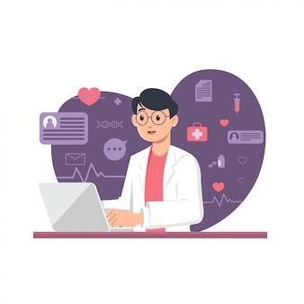 Illustration-concept-médecin-en-ligne