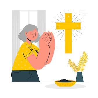Illustration de concept de mercredi des cendres